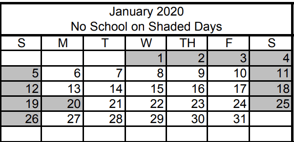 No School January 1st, 2nd, or 3rd for Winter Break. Classes resume on January 6th.  No School Monday, January 20th to observe Martin Luther King Jr. Day Discover the Best Gyms in Las Vegas New Years Day is Wednesday, January 1, 2020 - No School
