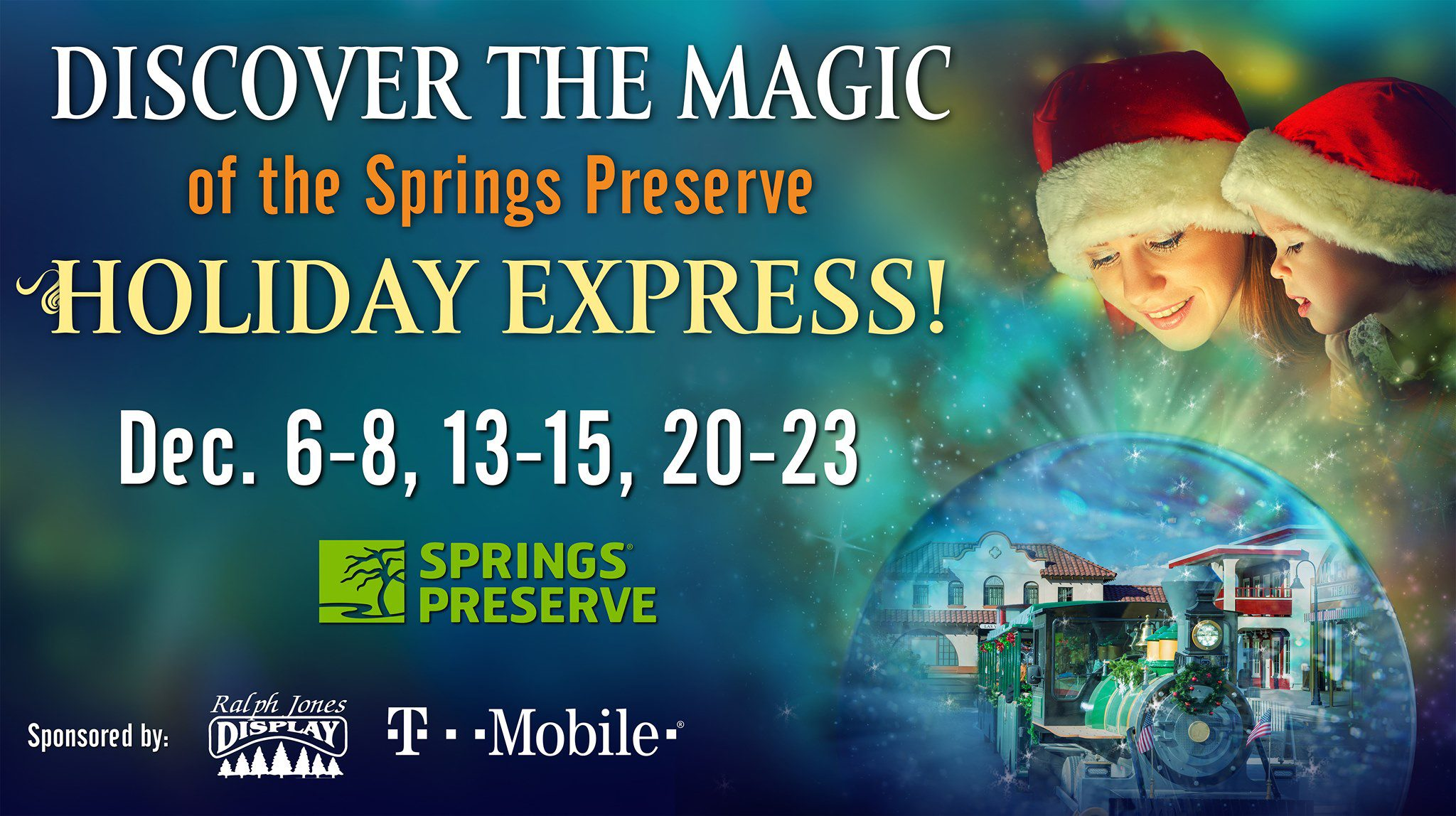 "All aboard the Springs Preserve's Holiday Express train at Springs Preserve. Ride away on a magical train ride to Santa's village. Your holiday adventure includes special time with Santa in his cottage, fun holiday crafts, winter cookie decorating, storytime, reindeer games (oh what fun),  and the white stuff -""snow"" (yes, snow!)."